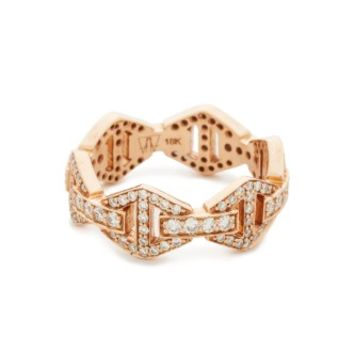 Keynes All Diamond Hexagon Stackable Ring