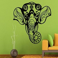 Wall Decals Vinyl Decal Sticker Decorated Elephant Head Indian Pattern Mandala Lotus Flower Home Interior Design Art Bedroom Living Room Decor