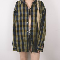 Vintage Navy Yellow Plaid Flannel Button Up Shirt