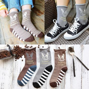 Adult Size Socks Piano Gold Wires Golden Coffee Cute French Bulldog Bull Dog Terrier BONNE CHANCE Brown Curl Roll Curling Line