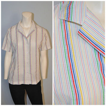 Vintage 1970's Women's Rainbow Striped Blouse Vertical Stripe Top Button Down Shirt Short Sleeve by Fresh Start Retro White Pattern Print