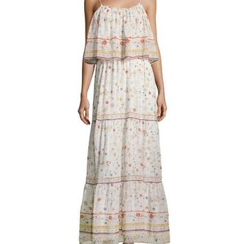 Joie Vernita Floral-Print Popover Maxi Dress, White Pattern