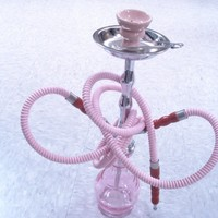 "19"" pink  2 Hose Hookah Pipe Egyptian hookah+ free Gifts Coal Shisha Screen"