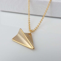 One Direction necklace - paper airplane necklace - Directioner-gold version