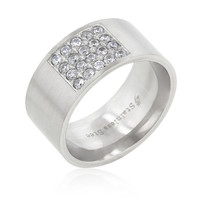 Stainless Steel Pave CZ Men's Ring