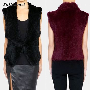 2017 fashion ladies qutumn winter warm sleeveless fake fur vest rabbit hair women waistcoat outwear female faux fur vest S-3XL