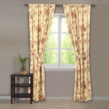 Greenland Home Fashions Claremont Collection Antique Rose Multi Color Panel Pair Window