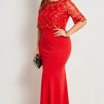 Chicloth Red Lace Floral Half Sleeve Plus Size Dress