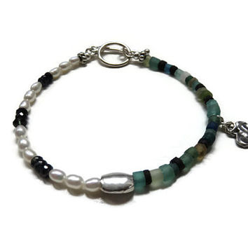 Shaded Blue Sapphire, Freshwater Rice Pearls, Ancient Roman Glass, and Artisan Made Sterling Silver Anklet ... Grace