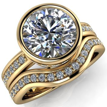Lillian Round Moissanite Eternity Bezel Set with 1/2 Eternity Diamond Solitaire Ring