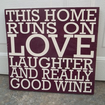 This Home Runs on Wine 8x8 Wood Sign