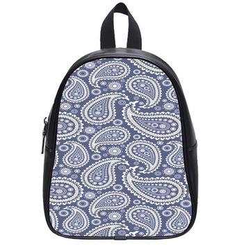 Blue Paisley School Backpack Medium