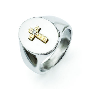 Stainless Steel with 10K Gold Cross and Diamond Polished Ring