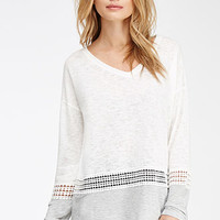 Crochet-Paneled Slub Knit Sweater