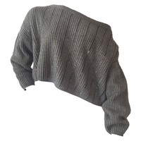 1980s Claude Montana Over-Sized Gunmetal Sweater w/ Chainlink Stripes.
