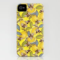 Yellow lemon and bee garden. iPhone & iPod Case by SmallDrawing