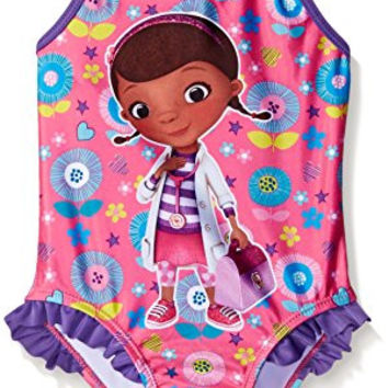 Disney Toddler Girls Doc Mcstuffins Swimsuit, Purple/Pink, 4T