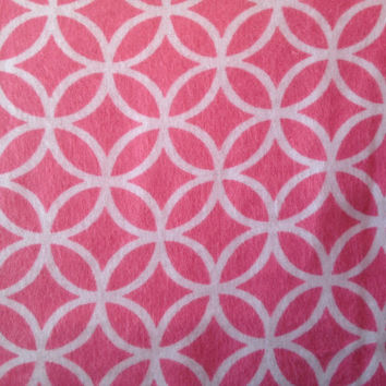 Pink and White Circle Geometric Print Snuggle Flannel Cotton Fabric, Quilting, 1 Yard, more yardage available