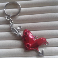 Red heart with arrow   silvertone  keychain keyring