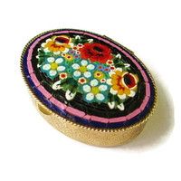 Vintage Black Italian Micro Mosaic Oval Dresser Trinket Compact Box  with Beautiful  Flowers