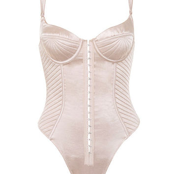 Clothing : Bodysuits : 'Sabrine' Champagne Quilted Satin Bodysuit