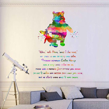 kcik2068 Full Color Wall decal Watercolor Character Disney Winnie the Pooh Piglet quote Sticker Disney children's room