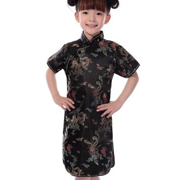 Black, Blue, Gold, Pink, Red Floral Silk Kids Cheongsam One-piece Chinese Qipao Dress