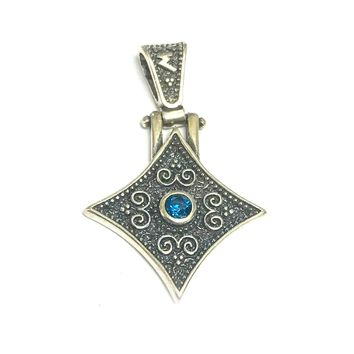 Oxidized Sterling Silver Byzantine Style Rhombus Pendant