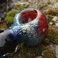 Wizard's Walking Stick- Black Scarlett and Metallic Blue Glass Pipe