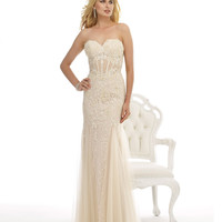 Champange Sheer & Lace Gown Prom 2015