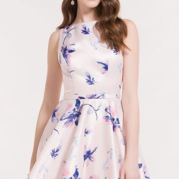 Alyce 3710 Pink Floral Fit and Flare Dress with Open Back