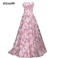 Romantic Organza Flower Prom Dresses 2018 Formal Evening Dress Long Party Gown Amazing Woman Plus Size Sexy Backless Pink
