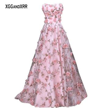 Romantic Organza Flower Prom Dresses 2018 Formal Evening Dress L b7d16bb74ad5