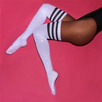 5 Colors Sexy Rhinestone Stockings Thigh High Cotton Long Stockings Women Plus Size Thick Stocking Female Over the Knee Socks