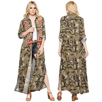 Tango Kimono Embroidered Dress in Camo