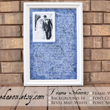 Parents Wedding frame - Thank you parent gift - Custom Picture Frame - Parent Anniversary Gift - Parents  - Thank You Gift - 15x21