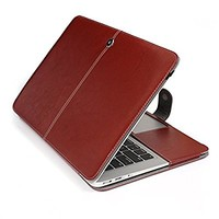 """Macbook Air Case,Hankuke Premium Quality PU Leather Book Cover Clip On Case for Apple MacBook Air 13"""" 13.3 Inch (Will Not Fit Macbook Pro 13"""" or Macbook Air 11"""") (brown)"""