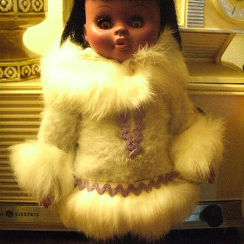 Vintage Eskimo Lady Doll With Baby Papoose