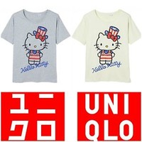 NWT UNIQLO WOMEN SANRIO CREW NECK SHORT SLEEVE T-SHIRT JULY 4TH HELLO KITTY TEE
