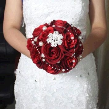 CREYUG3 red handmade Wedding bouquet flower flannelette pearl diamond Bride Hands Holding Rose Flower Wedding Bridal Bridesmaid Flower = 1930210372