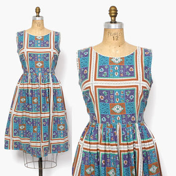 Vintage 50s SUN Dress / 50s Ethnic Tile Print Full Skirt Sleeveless Cotton Rockabilly Dress L