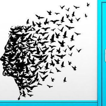 Wall Sticker Vinyl Decal Man Birds Romantic Flying Freedom Mind Cool Decor Unique Gift z2460