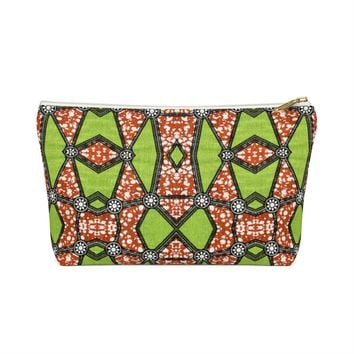 Green African Inspired Make up Pouch w T-bottom