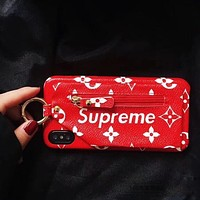 LV X Supreme Classic Stylish Red Zipper Zero Wallet iPhone Phone Cover Case For iphone 6 6s 6plus 6s-plus 7 7plus 8 8plus X I12077-1