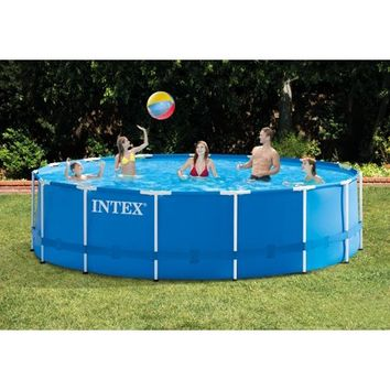 "Intex 15' x 48"" Metal Frame Above Ground Pool with Filter Pump - Walmart.com"