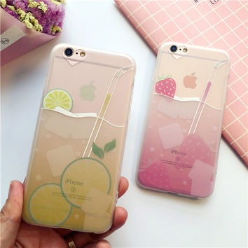 Strawberry juice lemon juice mobile phone case for iphone 6 6s 6plus 6s plus + Nice gift box!
