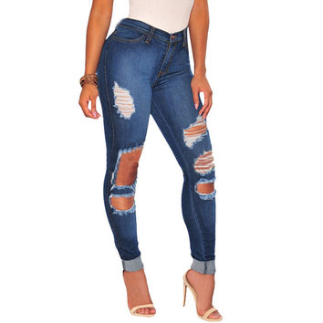 Plus Size Ripped Jeans For Women Winter High Waist Pocket Hole Zip Washed Vintage Boyfriend Jeans Skinny Fashion  Pencil Pants