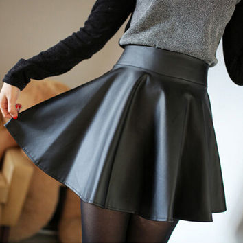 Top sale 2015 Women Faux Leather Soft PU Skater skirt HIGH WAISTED GRUNGE FLIPPY PLEATED SWING SKIRT Fashion saia Skirts