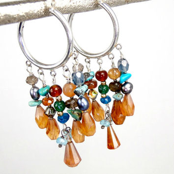 Earth Tone Hoop Earrings Hessonite Garnet Turquoise Orange Pumpkin Fall Fashion