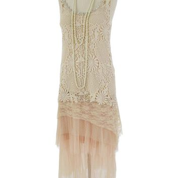 20s Inspired Cream Crochet Lace Tulle Layered Dress